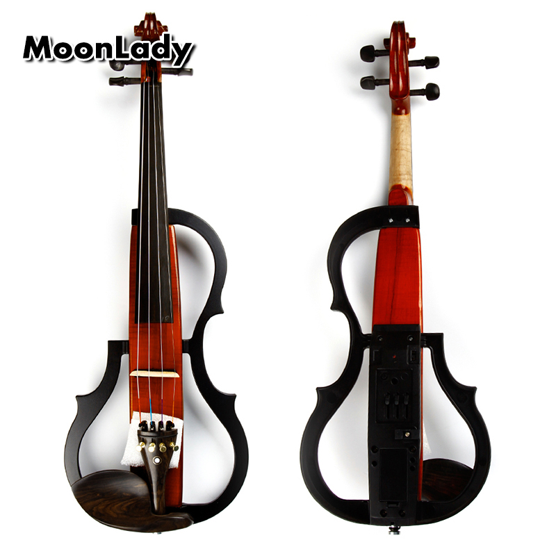 4/4 Wood Electric Violin Black and Brown Musical Instruments Stringed Instrument Suitable for Beginners and Music Amateurs