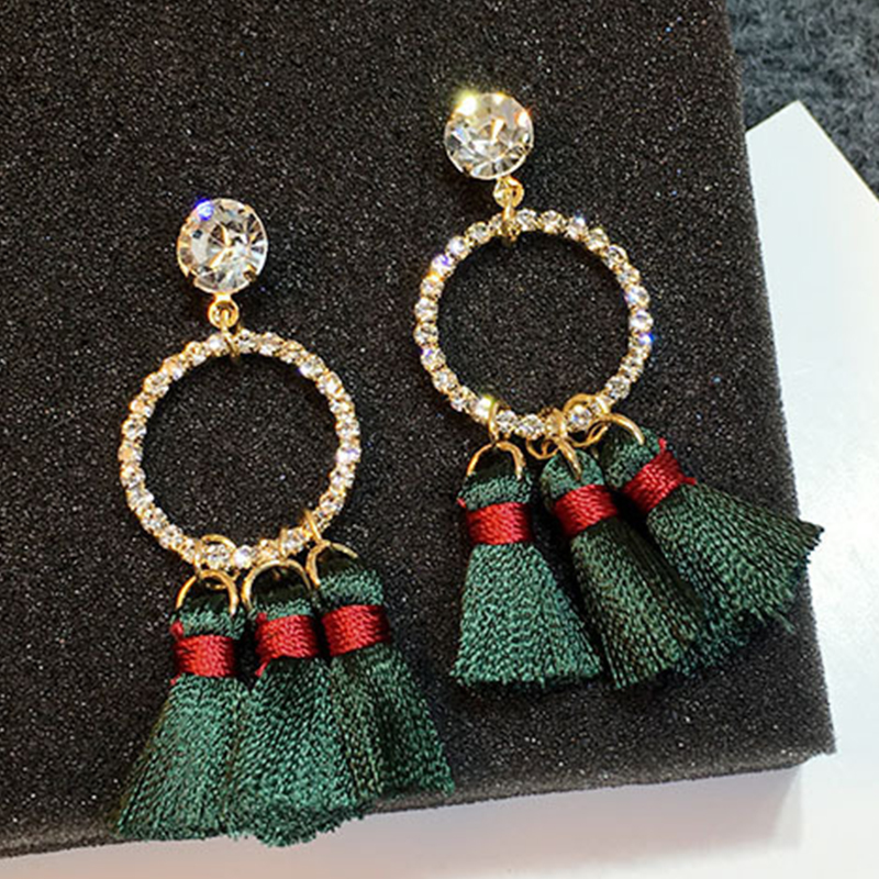 JO'SYJSP  Vintage Temperament Multi-color Geometric Rhinestone Alloy Tassel Long Earrings Women Girls Fringle  Brincos