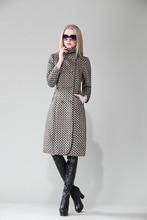 women jacket winter coat women Winter New Slim coat lapel double-breasted plaid wool coat long section Free shipping