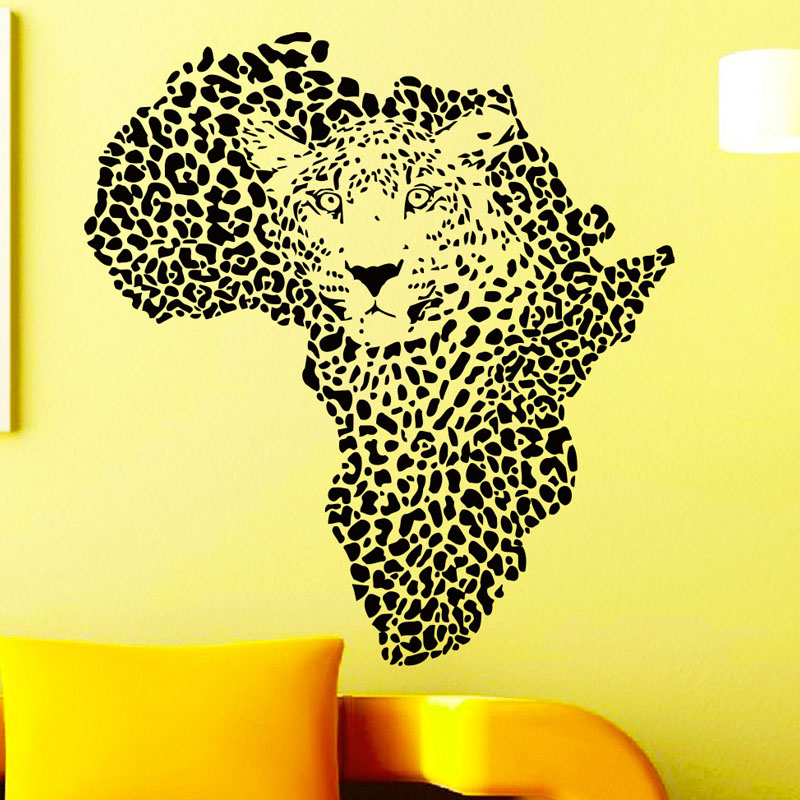 Art Decor Leopards Head Wall Stickers African Map Home Decor Vinyl ...