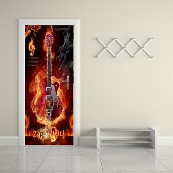 3D Flame Guitar Poster PVC Waterproof Entire Door Sticker Creative Stickers Door Wall Sticker DIY Mural Bedroom Home Decor