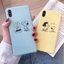 Cartoon peanuts Charlie Lucy phone case for iphone6 6s 8 7plus cute Japan anime Anti-knock cover iphone xr x xs max 7 plus