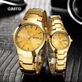 GIMTO relojes de Cuarzo Reloj del Amante de la Moda Mujeres de Los Hombres Vestido relogio feminino relojes de pulsera de oro de Acero de Tungsteno relojes mujer