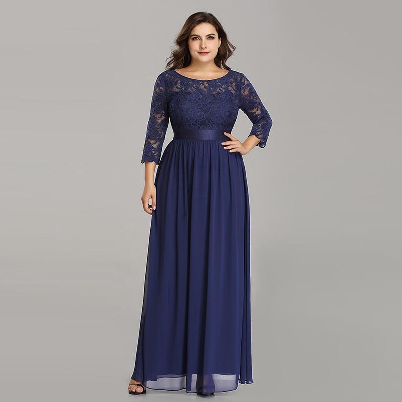 Grande taille robes de soirée Longue 2019 élégante dentelle à manches longues formelle soirée Robe pour mariage Robe Longue Manche Longue