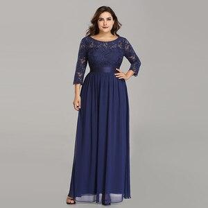 Image 1 - Plus Size Evening Dresses Long 2020 Elegant Lace Long Sleeve Formal Party Evening Dress for Wedding Robe Longue Manche Longue