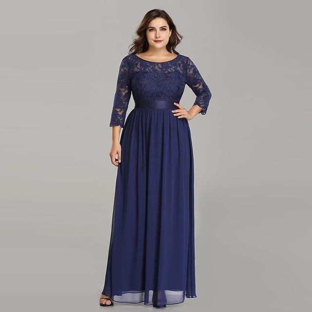 Plus Size Evening Dresses Long 2020 Elegant Lace Long Sleeve Formal Party Evening Dress for Wedding Robe Longue Manche Longue