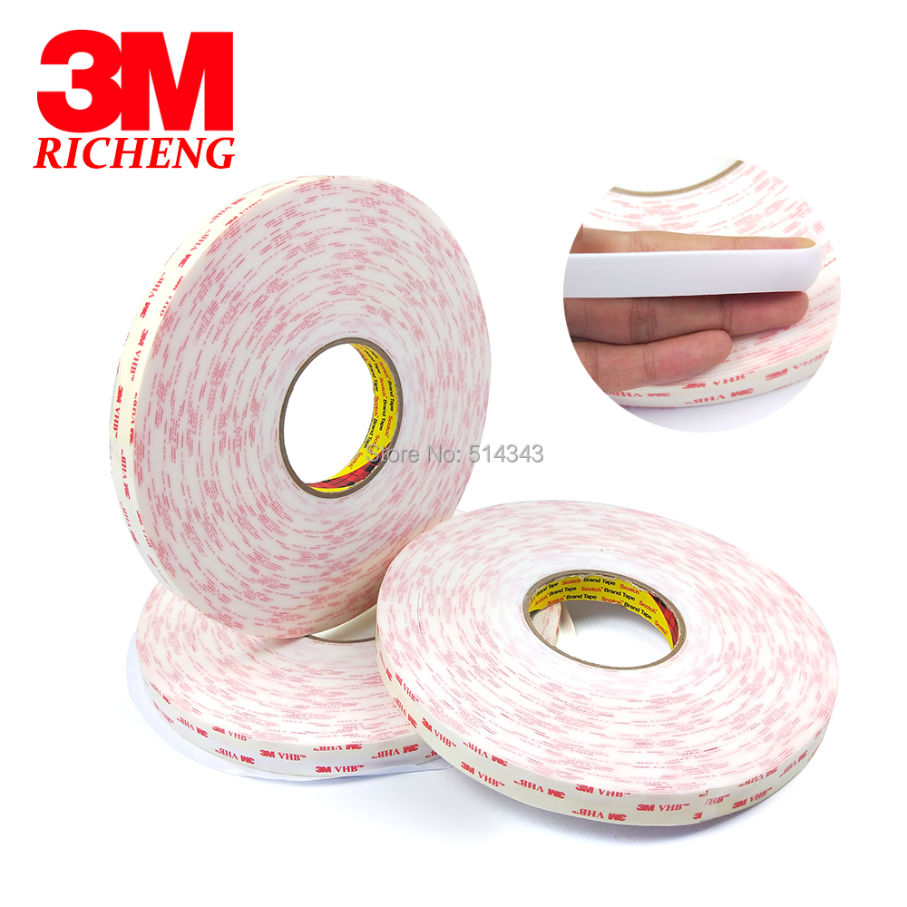 3M 4950 Double Sided VHB Acrylic Foam Tape self adhesive transparent holographic film 15MM*33M 1Roll/Lot 1piece 3m vhb 5952 heavy duty double sided adhesive acrylic foam tape black 150mmx100mmx1 1mm