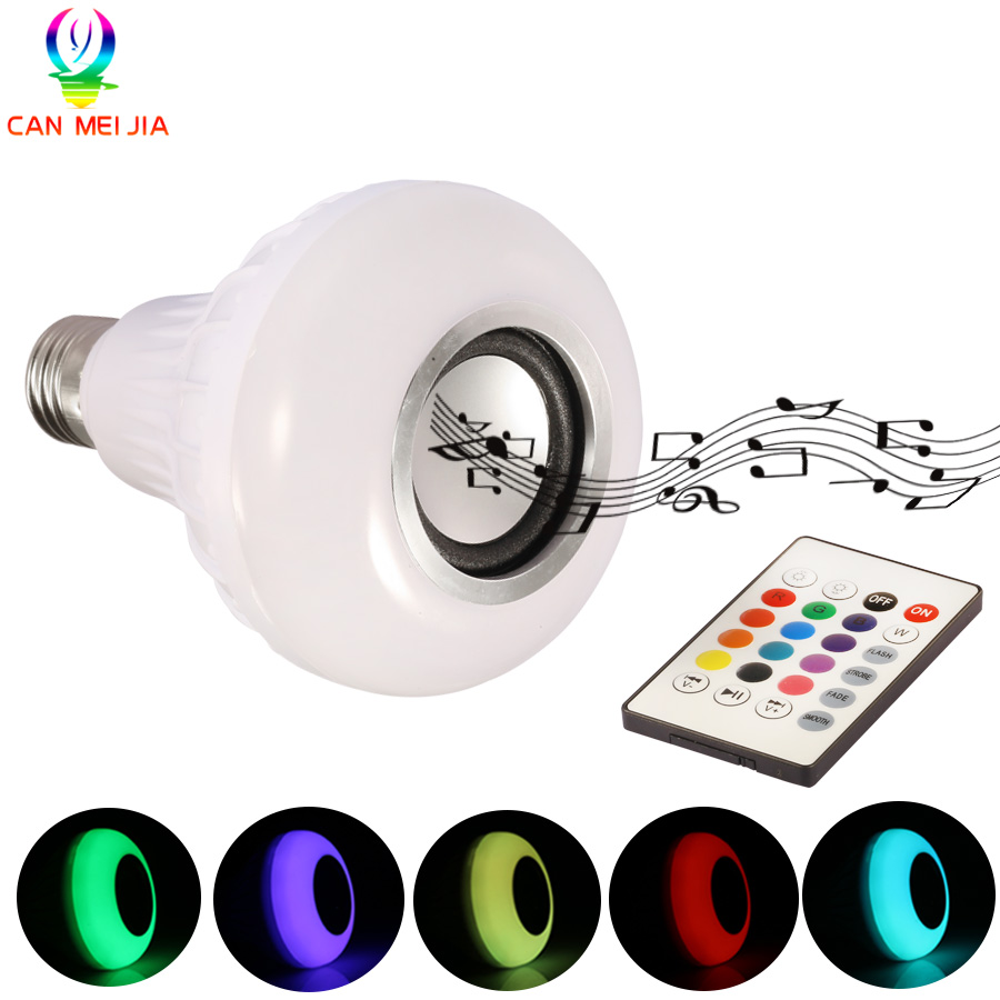 Smart E27 RGB Bluetooth Speaker LED Bulb Light 12W Dimmable RGBW Wireless Music Playing Leds Lamp with 24 Keys Remote Control smuxi e27 led rgb wireless bluetooth speaker music smart light bulb 15w playing lamp remote control decor for ios android