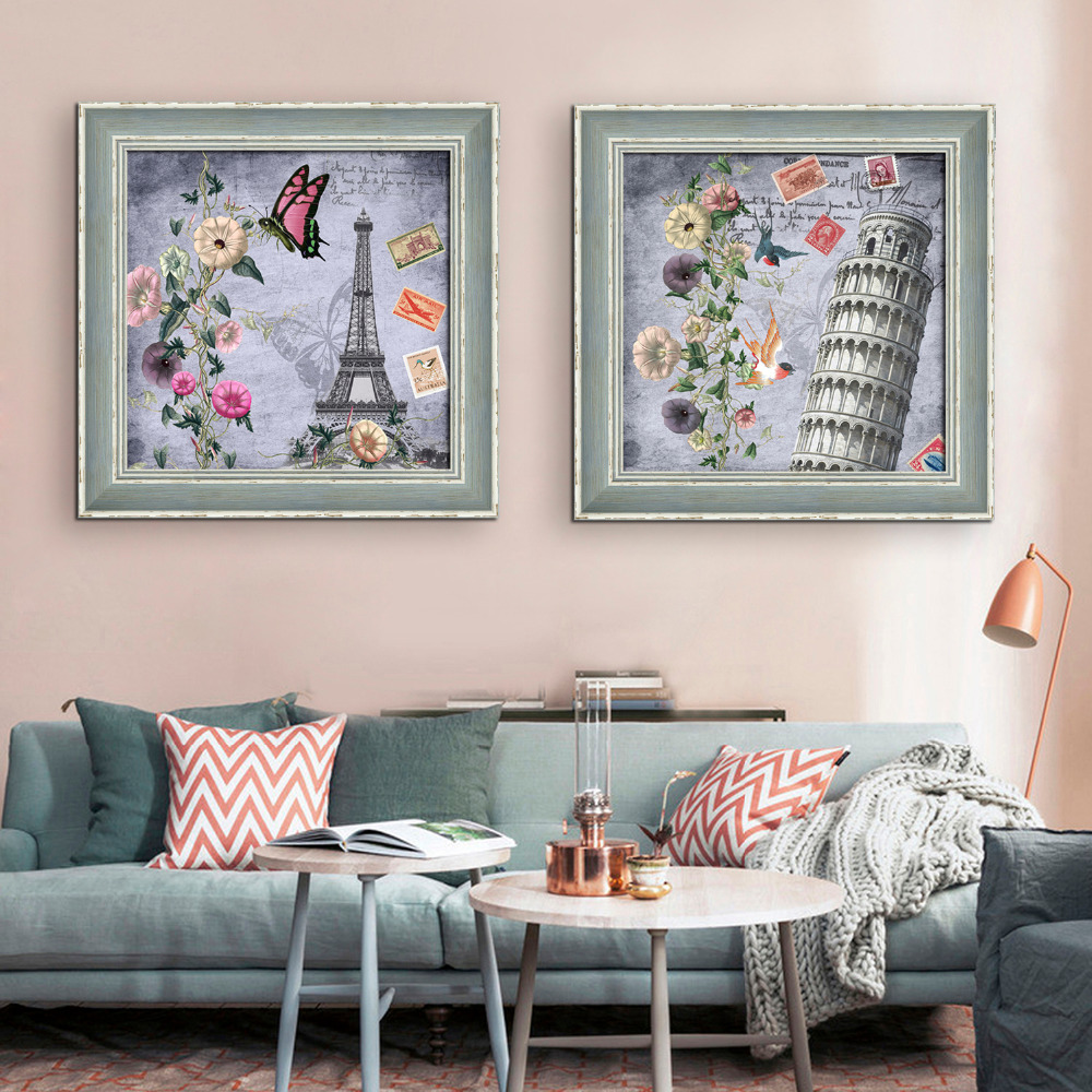 free shipping framed canvas painting art famous architecture painting canvas print wall art home decor decoration