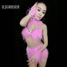 DJGRSTER, новинка, танцевальные костюмы для выступлений, костюм диджея с розовыми перьями, бюстгальтер+ юбка+ цепочка на руку+ ожерелье, сексуальные костюмы для джазовых танцев