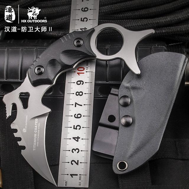 Survival knife Self defense Tactical knife Titanium coated fixed blade