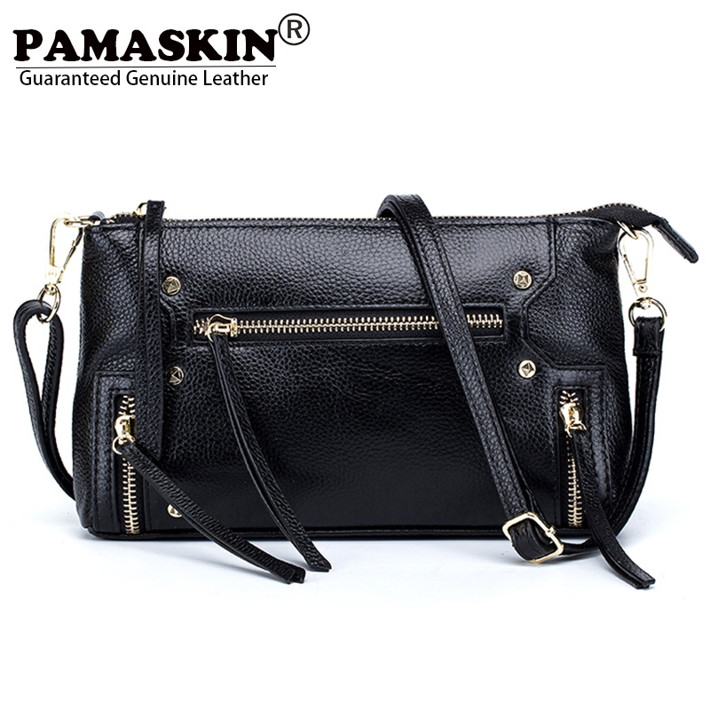 PAMASKIN Guaranteed Luxurious Cow Leather Woman Messenger Bags 2017 New Arrivals Retro Rivet Female Cross body