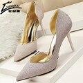 2017 Mujeres Atractivas Bombea Los Zapatos Azul Plata Tacones Altos Zapatos de Boda Para Las Mujeres Oro Stilettos Tacones sapatos femininos de salto