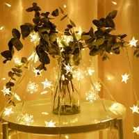 10/20/40 Leds estrella bola en forma de cadena guirnalda de luz Navidad Fiesta boda vacaciones decoración luces batería operado Luz de hadas