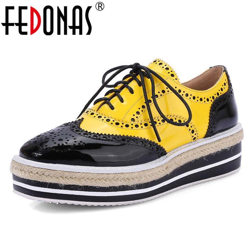 FEDONAS Fashion Brand Women Flats Shoes Woman Platforms Round Toe Lace Up Casual Shoes Mix-color New Autumn Flats Shoes real pic high color decorative rivets women casual shoes brand designer lace up comfortable women flats shoes woman