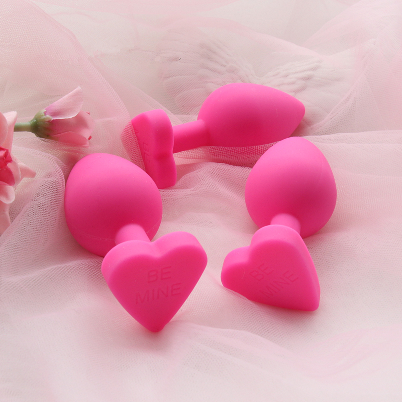 Lovely Heart Anal Butt Plug Kit Naughty 100% Medical Grade Silicone Anal Trainer Sex Toys For Women Tail Kit Butt Plug Set