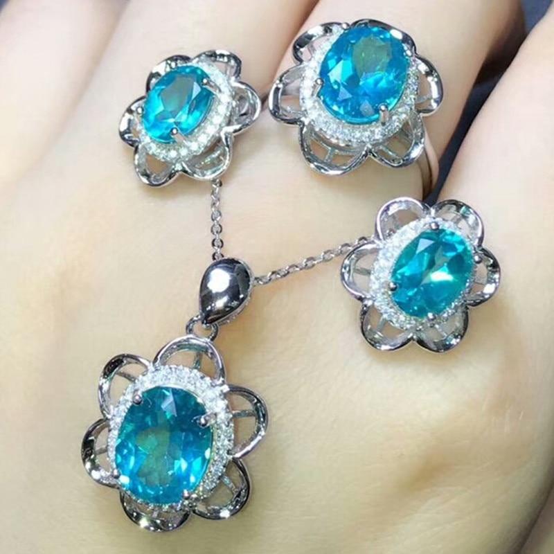 Здесь продается  925 sterling silver blue topaz natural gemstone ring earring pendant necklace new style fine jewelry set MEDBOO hot fashion set  Ювелирные изделия и часы