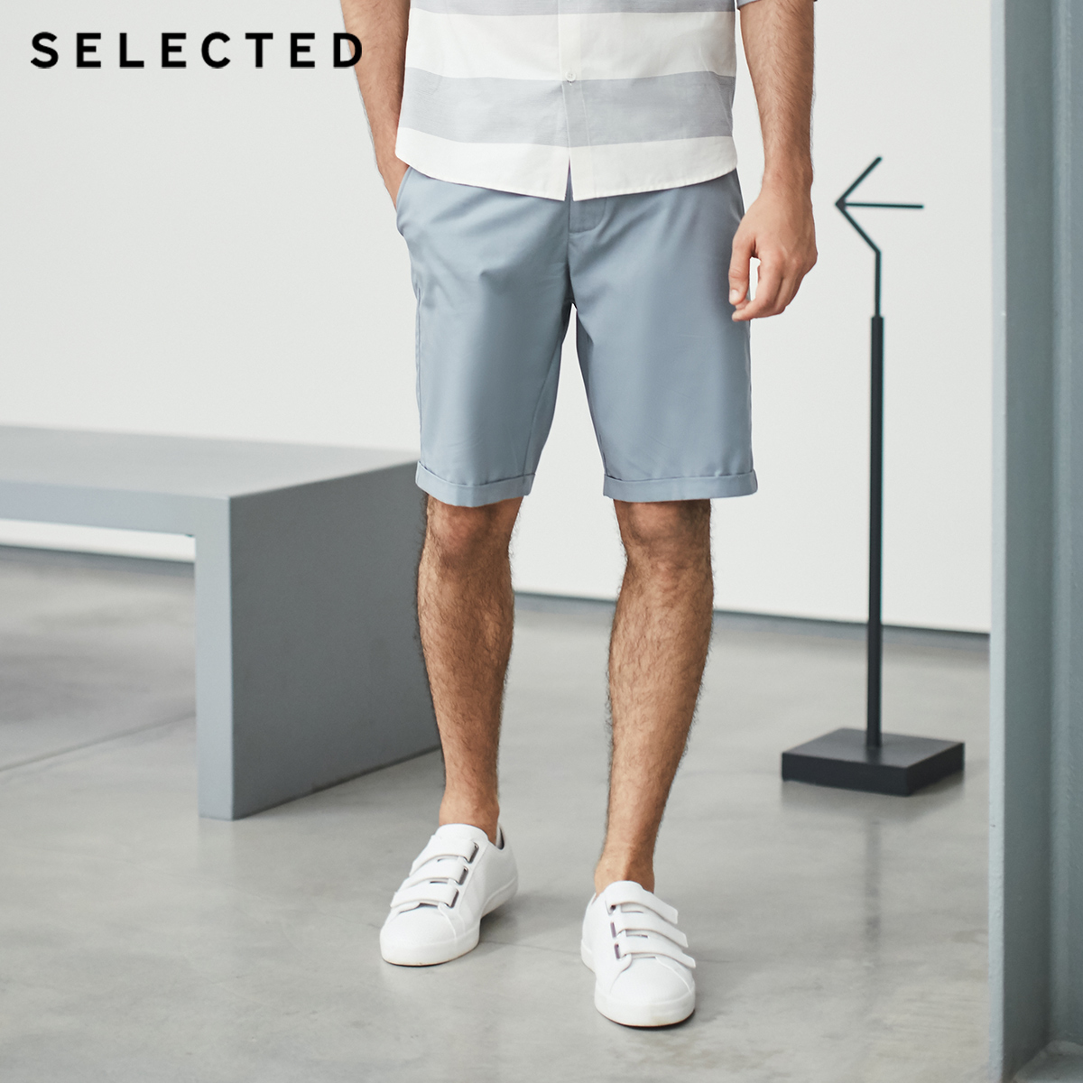SELECTED Tencel Fabric Blend Straight-leg Leisure  Mens Shorts S|4182SH516