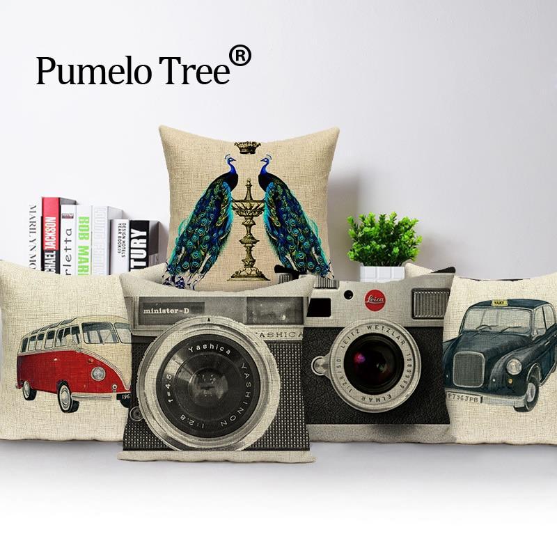 Kamera bağbozumu yastık dekoratif yastıklar Dropshipping yastık örtüsü kuşlar tavuskuşu baskı dekoratif yastık yastık kılıfı kapakları