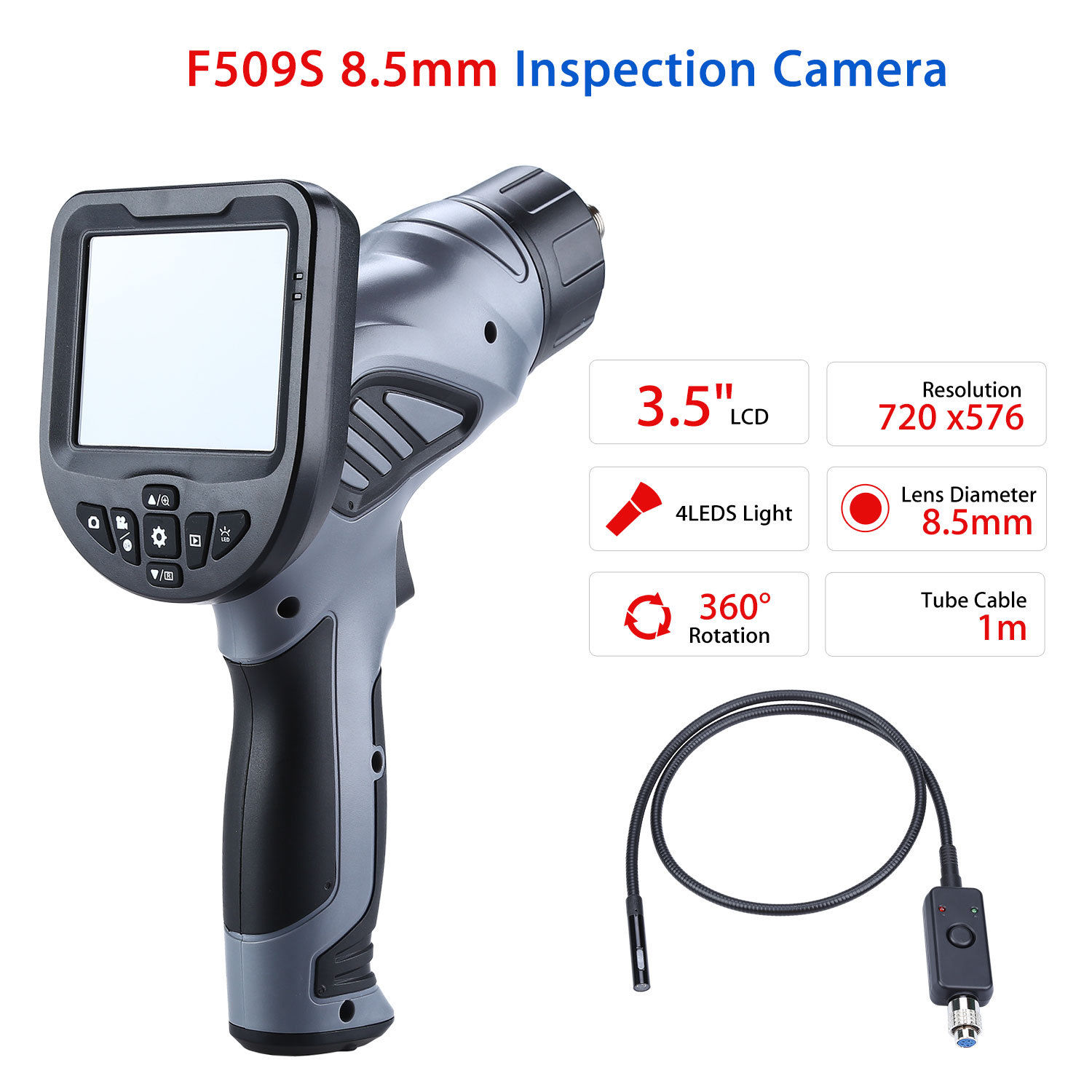 Blueskysea 3.5 LCD CMOS  IP67 Endoscope Inspection Borescope Dia 8.5mm Tube Snake Camera DVR Repair Tool W/ 4 LED Light blueskysea nts200 endoscope inspection camera with 3 5 inch lcd monitor 8 2mm diameter 1 meter tube borescope zoom rotate flip