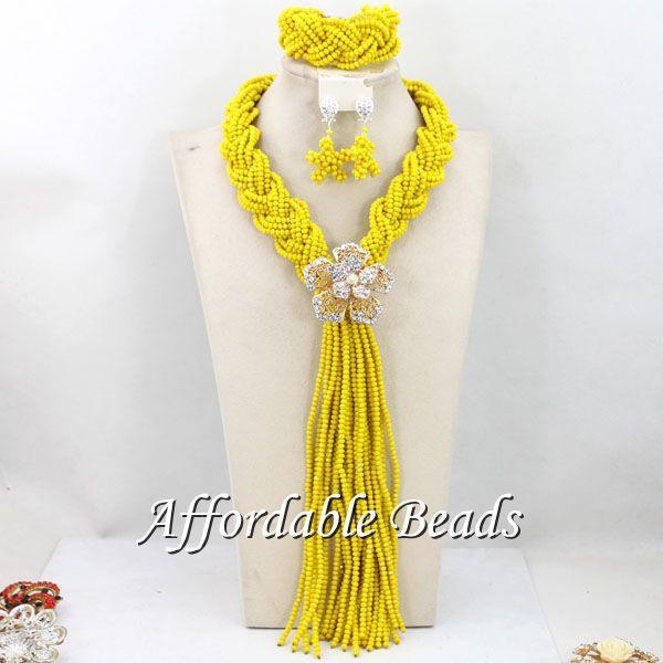 Yellow Beaded Nigerian Jewelry Splendid African Jewelry Set Unique Design Wholesale Free Shipping BN588