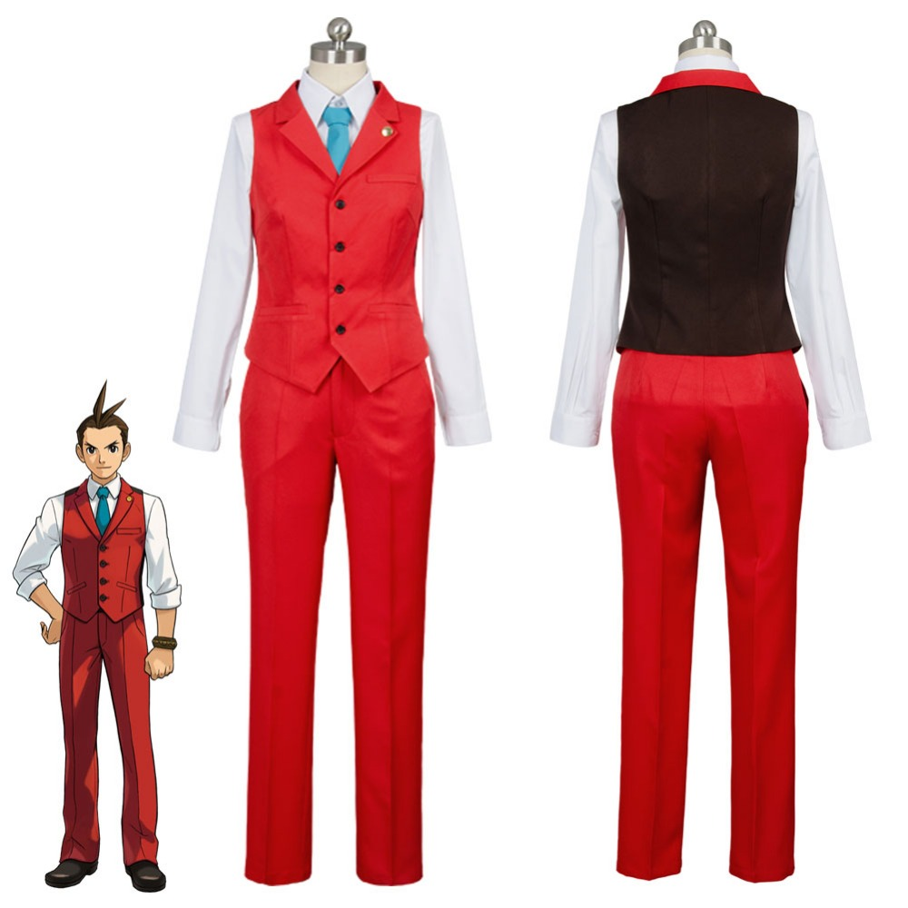 New Gyakuten Saiban 4 Apollo Justice: Ace Attorney Polly Red Lawyer Suit Cosplay Costume For Adult Men Women image