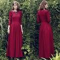 Vestido a estrenar de calidad moda 2016 diseñador vintage primavera maxi dress mujeres largo otoño invierno dress
