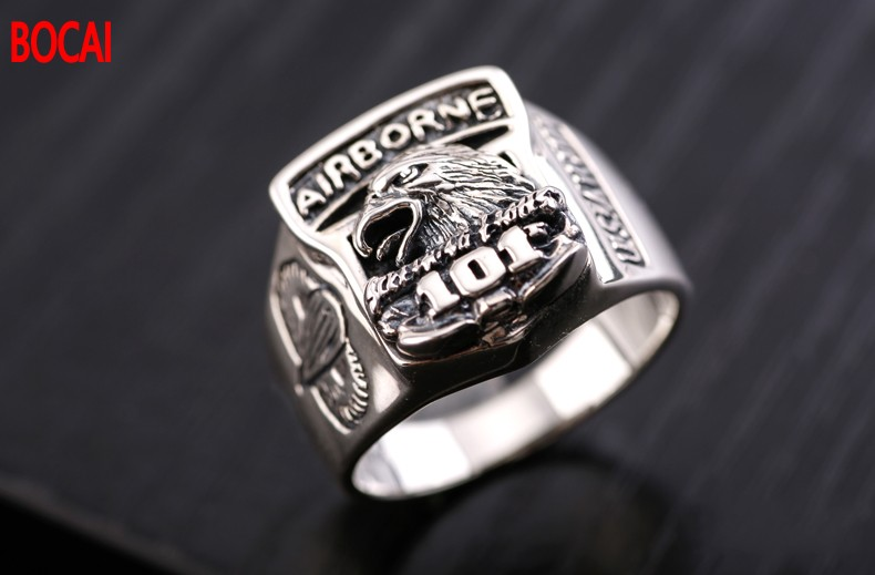 Thai silver ring restoring ancient ways is the 101th airborne division men domineering personality index finger ring 925 silver men s ring thai silver national wind restoring ancient ways domineering silver ring pop open wholesale offered