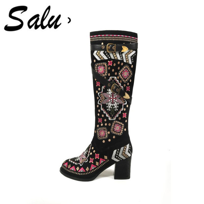 Salu 2018 new fashion knee high boots women top quality genuine leather boots warm autumn winter boots high heels shoes woman 2016 new fashion winter knee high boots high quality personality knee high boots comfortable genuine leather boots