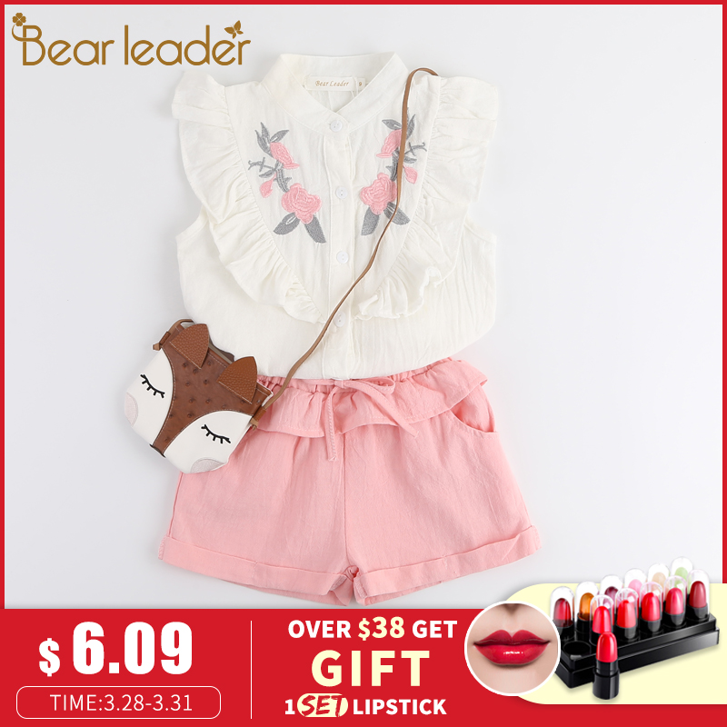 Bear Chief Youngsters Garments 2019 Vogue Sleeveless Flower Embroidery Child Ladies Shirt +Shorts 2pcs Go well with Youngsters Clothes Units youngsters clothes set, clothes units, vogue children garments,Low-cost youngsters...
