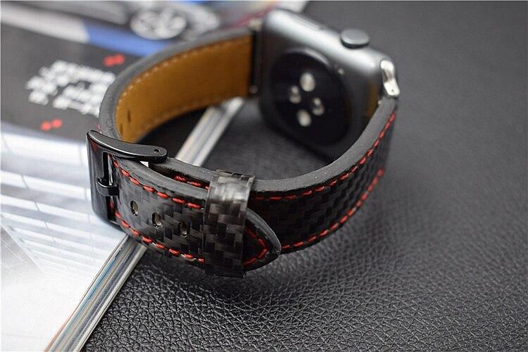 For Apple Seires 4 Watch Rem ægte kulfiber læderbånd til Apple - Tilbehør til ure - Foto 4