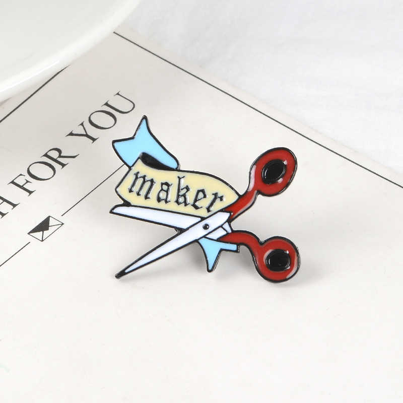 Maker Scissors and Cloth Pin Enamel Lapel Pin Artist Scissor Brooch Backpack Hat Coat Lapel Pin Badge Tailor Worker Jewelry Gift