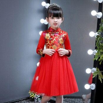 53c155d8767e0 Çin Retro Cheongsam Elbise Prenses Yeni Yıl Festivali Zarif Elbiseler  Kırmızı Polar veya Pamuk Bahar Kış Tören Frocks