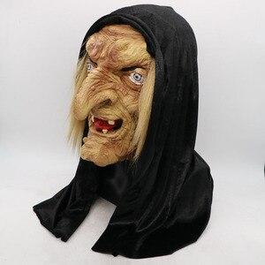 Image 2 - 怖い大人歳魔女マスクラテックス不気味なハロウィン仮装しかめっ面パーティー衣装アクセサリーコスプレ小道具大人ワンサイズ