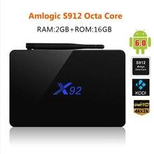 Vente chaude X92 Android 6.0 TV Box Amlogic S912 Octa Core Kodi 16.1 TV Box 2 GB/16 GB Entièrement Chargé 2.4/5.8G Wifi Set Top Box