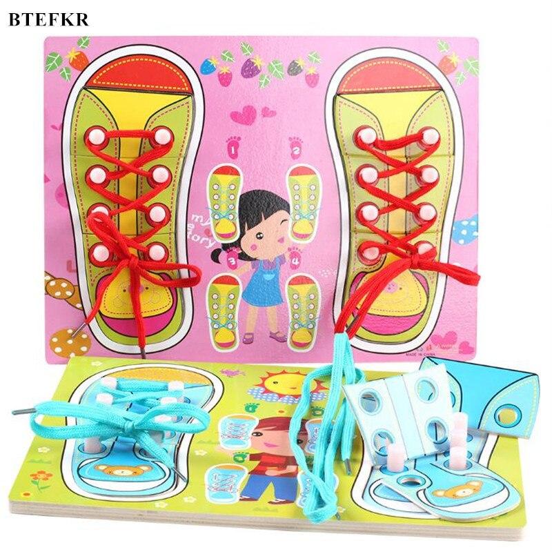 Детские деревянные пазлы Монтессори учебных пособий дети учатся галстук ботинка шнурок игрушка детская туалетный головоломки настольные ...
