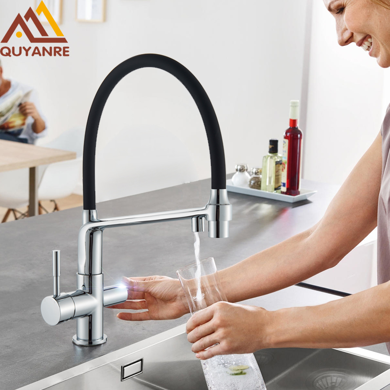 quyanre purifier water kitchen faucet filter kitchen tap pull out 2 way sprayer dual levers filtered kitchen sink faucet filter
