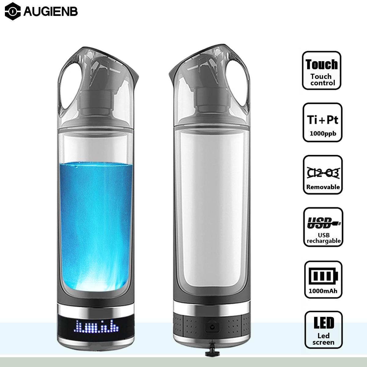AUGIENB 500ml Hydrogen Rich Water Bottle Lonizer Alkaline Generator LED Portable Healthy Cup USB Rechargeable Anti-Aging