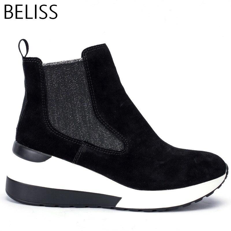 BELISS 2018 frühling herbst stiefeletten weibliche kuh wildleder leder plattform komfortable frauen turnschuhe mode top qualität B35-in Knöchel-Boots aus Schuhe bei  Gruppe 3