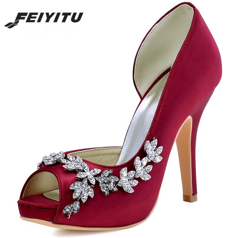 Feiyitu Women Platform High Heels Bridal Wedding Shoes Ivory White Rhinestones Peep toe Bride Bridesmaids Prom Pumps Navy Blue ep2094ae navy blue teal women evening party pumps high heel peep toe satin bride bridesmaids bridal wedding shoes ivory white