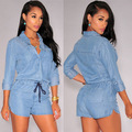 Sexy rompers for women short bodycon jumpsuit V neck sexy Denim elegant jumpsuit Elastic waist fashion sexy club jumpsuits