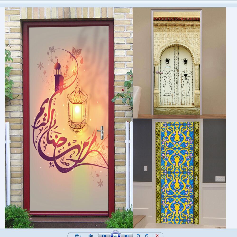 3D Muslim Style Door Sticker Wooden Door Renovation Bedroom Living Room Door Home Decoration Self Adhesive Waterproof Stickers