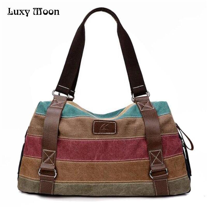 2017 Hot Women Shopping Bags Casual Patchwork k2 Canvas Handbag Stripe Shoulder