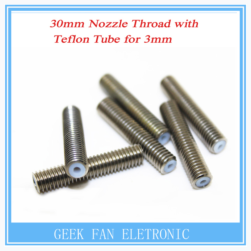 5PCS RepRap 3D Printer M6*30mm barrels printer nozzle throat with Teflon tube 1.75mm