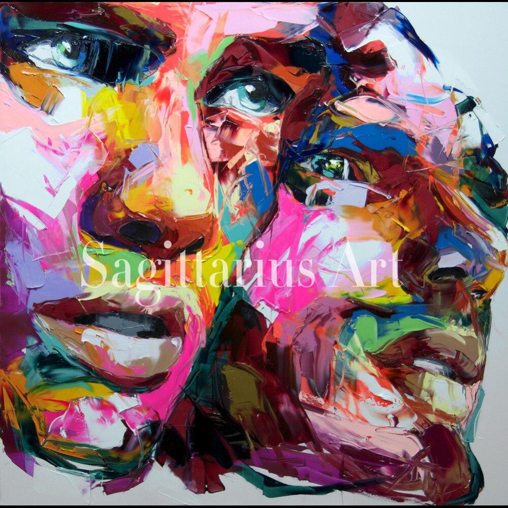 Handgemalte Hohe Qualitt Designer Francoise Nielly Coole Face Art Istanbul Lgemlde Leinwand Kunstwerk Kunst Wohnzimmer