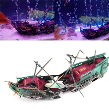 Aquarium Artificial Sunk Wreck Ship Decoration Fish Tank Air Split Destroyer Boat Wreck Decoration Used With Air Oxygen Pump