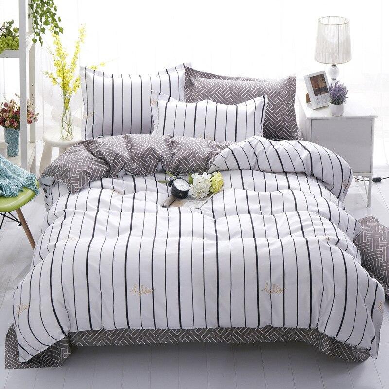 Cheap Modern Bed: Modern Striped Cheap Bedding Set 2018 Bed Linens 4pcs/set