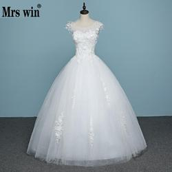 Vestido de noiva barato do laço das vendas quentes de noiva 2019 feito na china applicue sexy sem costas bordado vestido de casamento