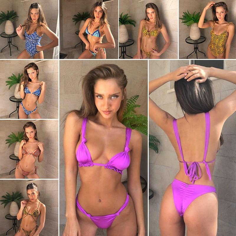 Hot 2018 Swimwear Women Bandage Bikini Set flouncing Swimsuit knot Bikinis Maillot De Bain Feme Beachwear Bathing Suit Biquinis