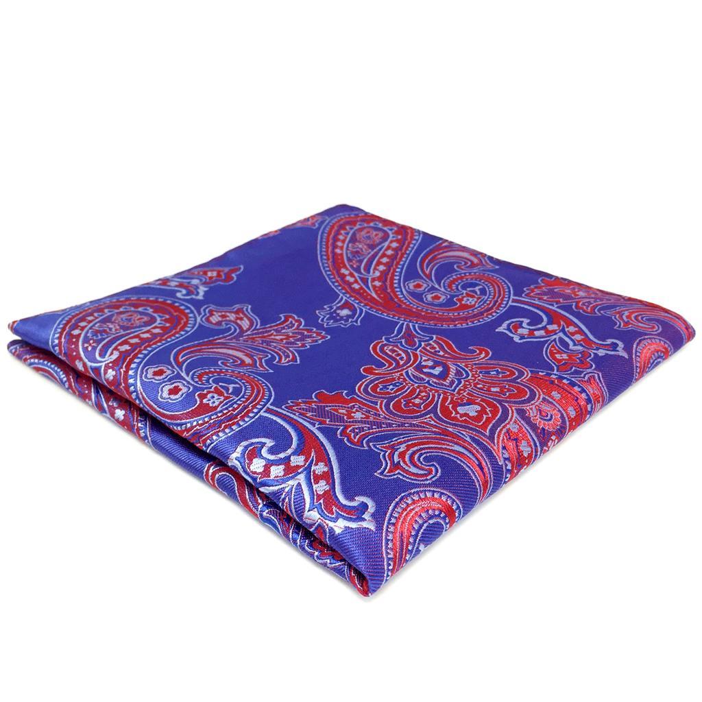 FH01 Blue Red Paisley Mens Pocket Square Wedding Handkerchief Silk